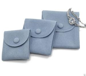 Luxury Blue Velvet Jewelry Button Pouch For Bracelet Rings Brooches