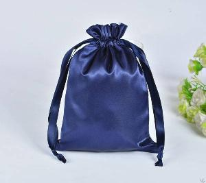 navy blue satin gift bag