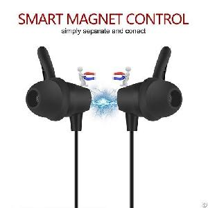 A6 Smart Magnet Control Secure Fit Bluetooth Earphone For Sport