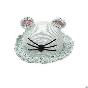 fashion cat ear kids straw hat