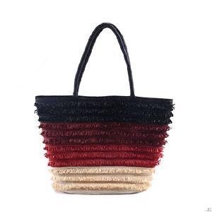 multi braid striped straw beach bag