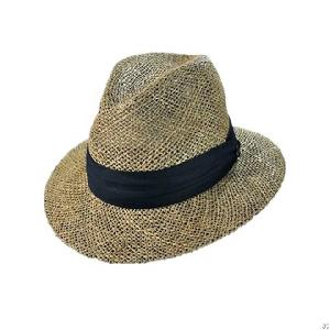 mens straw fedora seagrass hat
