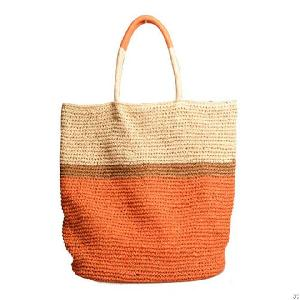 paper striped straw beach bag