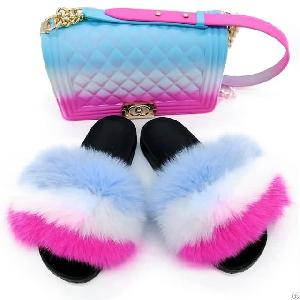 colourfull fur slides maching jelly purse