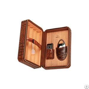 brown leather collection 12 count travel cigar humidor