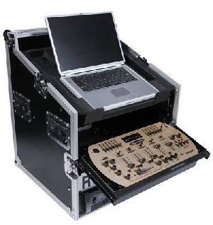 19 4u slant rack combo flight case slide mixer tray