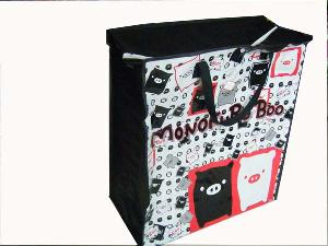 Double Pig Black Colored Pp Woven Shopping Bag
