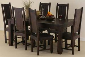 Sheesham Hardwood Dining Table And 6 Chairs Chair Pads