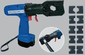 portable cordless hydraulic cable terminal crimping tool