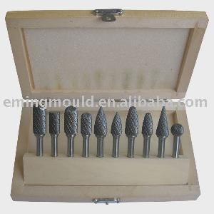 10 Pcs Carbide Burrs Set In Wood Box, Industrial Cutting Tools Parts, Rotary Files