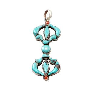 Tibetan Buddhist Turquoise Coral And Sterling Silver Double Dorje Pendant