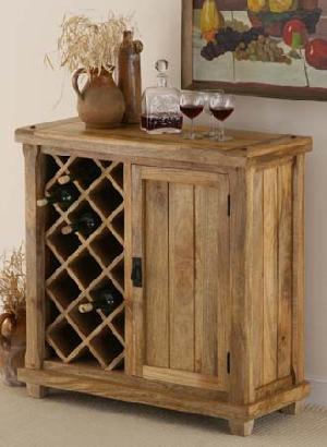 mango wood wine cabinet rack storage exporter wholesaler india