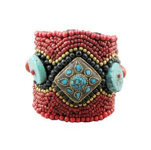 Tibetan Red Coral And Turquoise Bracelet