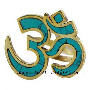 Om Tibetan Silver Turquoise Ring