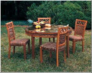 banana leaf abaca round dining table chair combined mahogany frame