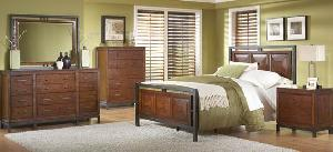 Bedroom Set With Panel Bed, Dresser, Armoire, Night Stand, Chest Drawer And Mirror Made From Mahogan