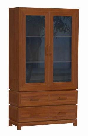 Minimalist Vitrine Larder Cabinet 2 Glass Doors 4 Drawers, Home, Restaurant And Hotel, Mahogany