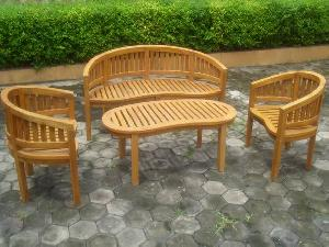 Teak Banana Bench, Chair And Table In Set For Outdoor, Terrace And Indoor Furniture
