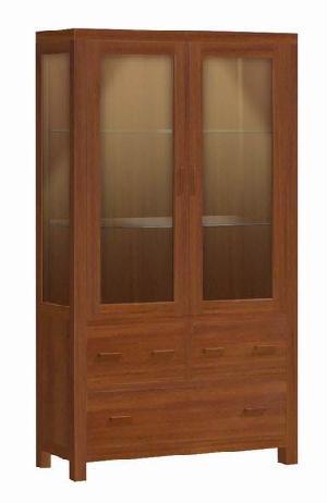 As-007. Cabinet 2 Glass Doors 3 Drawers Vitrine Expose Modern, Minimalist Mahogany Furniture