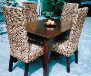 flat water hyacinth dining mahogany table gliss brown