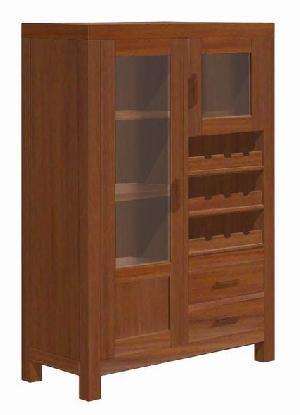 Mahogany Teak Minibar Larder 2 Drawers 2 Glass Doors Minimalist Modern Style Furniture