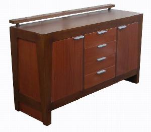 Java Dresser 4 Drawers 2 Doors Minimalist And Modern Style Teak Mahogany Indoor Furniture