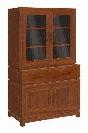 Minimalist And Modern Vitrine Cabinet 2 Drawers, 2 Glass Doors Teak Mahogany Furniture