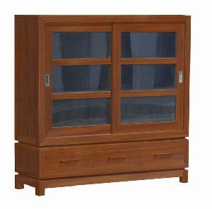 Y-047 Vitrine Larder Cabinet 3 Drawers 2 Sliding Glass Doors Mahogany Indoor Minimalist Furniture