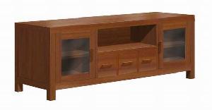 Meuble Tv Stand Cabinet 3 Drawers 2 Glass Doors Minimalist Mahogany Teak Indoor Furniture