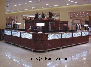 Brown Jewelry Retail Store Display Showcases Use High Power Led Lighting , Cold White Coloures