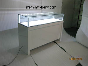 High Power Led Jewelry Display Counter Showcases With High Glossy White Coloures