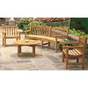 At Set-015. Corner Garden Set Arm Chair, Coffee Table, Benches Teak Outdoor Furniture