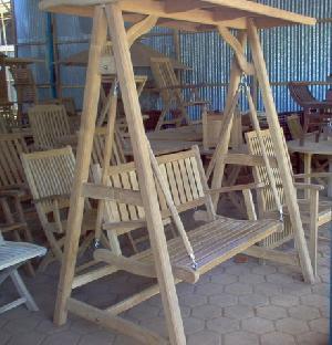 Harrem Garden Bench Swing 2 Seater Knock Down Teak Outdoor Furniture