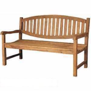 Huntsman Curve Back Garden Bench 150cm Knock Down Teak Outdoor Furniture
