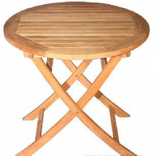 Round Folding Side Table Teak Garden Furniture