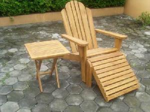 solo teak adirondack chair side table foot stool