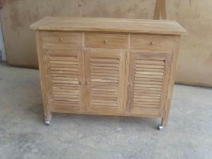 Teak Indoor Outdoor Furniture Server Cabinet 3 Drawers Doors