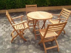 At Set-013. Round Table And Folding Chair In Set Teak Teka Garden Furniture