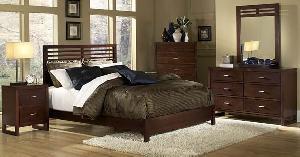 Mahogany Minimalist Bedroom Set Wooden Indoor Furniture