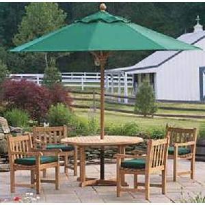teak garden dining arm chair round table 120 cm umbrella green fabric outdoor furniture