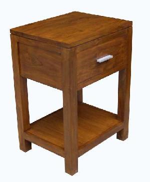 Raf-17 Minimalist Bedside Nightstand One Drawer Mahogany Wooden Indoor Furniture