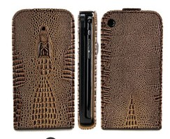 Textured Crocodile Magnetic Flip Leather Case Cover For Apple Iphone 3gs Iphone 3g Brown