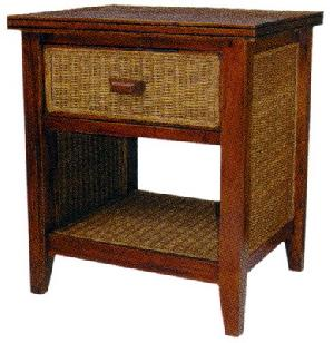 Mahogany Rattan Night Stand Bedside Minimalist One Drawer Woven Wooden Furniture Java Indonesia