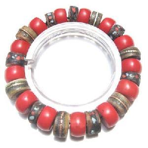 Tibet Yak Bone Skull Natural Coral Bracelet