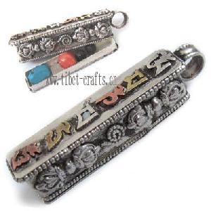 tibetan sterling silver mantra om mani ghau prayer box amul