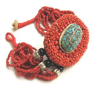 Huge Tibetan Jewelry Turquoise Red Coral Amulet Bracelet Oval Shaped