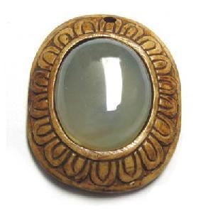 Tibetan Yak Bone Gemstone Amulet Pendant