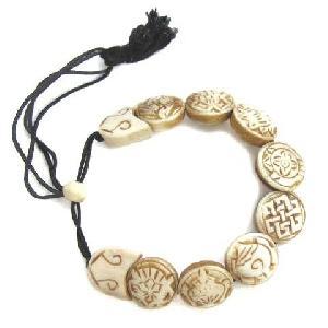 Vintage Tibetan Slide Bead 8 Yak Bone Slip Bracelet Carved With 8 Au