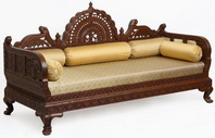 Indian Carved Sofa Set And Living Room Furniture With Silver, Carved Wood, Minakari Or Brass