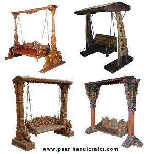 Wooden Carved Swing, Painted Swing, Silver Mounted Swings And Other Carevd Furniture